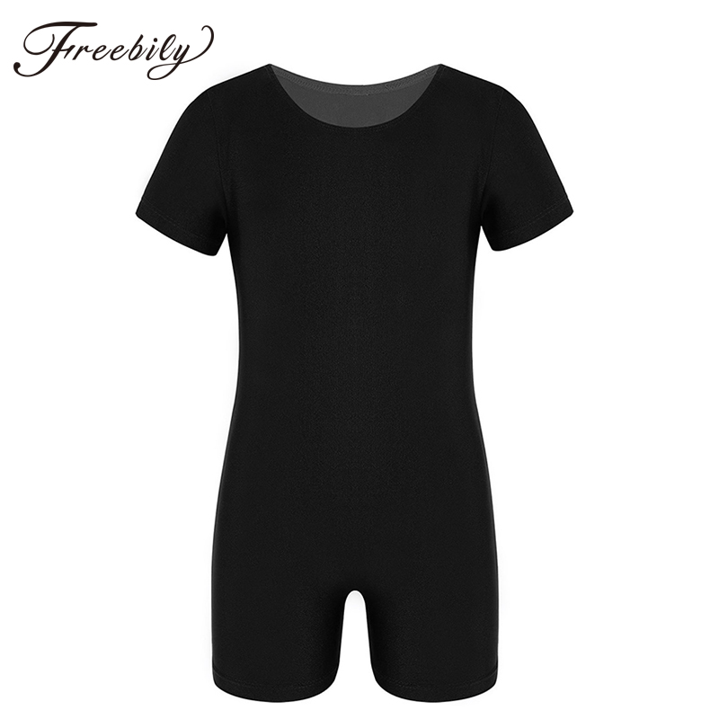 Kids Boys Girls Ballet Dance Gymnastics Leotards Bodysuit Short Sleeves Jumpsuit Unitard Gym Swimsuit Dancer Competition Costume