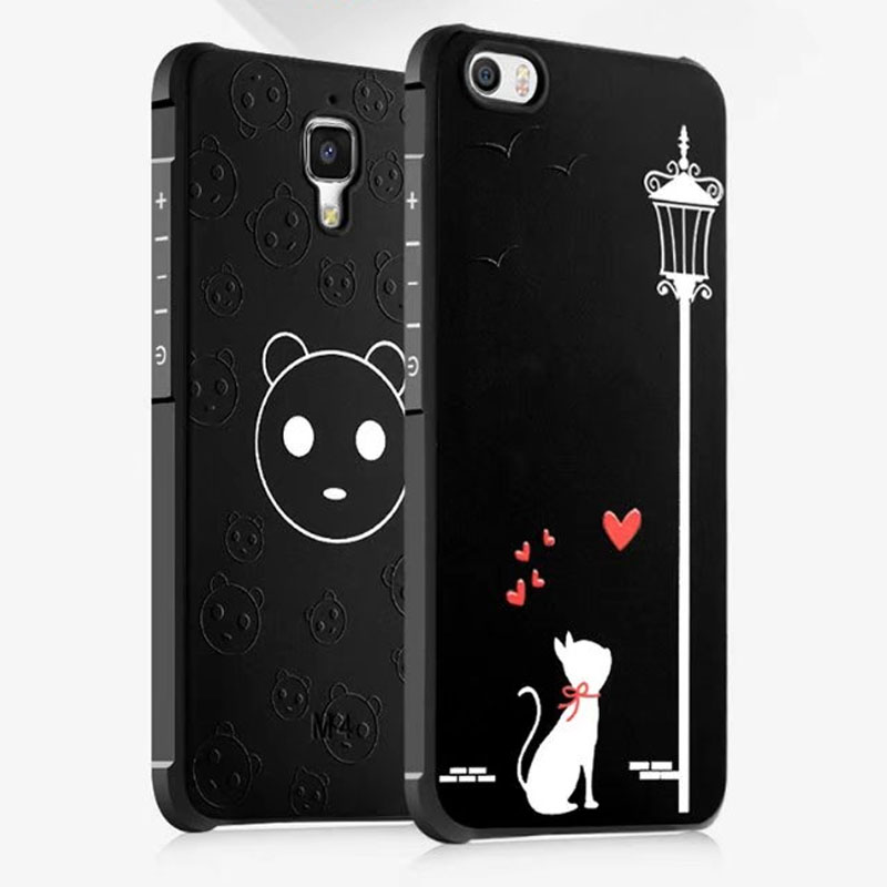 Para xiaomi mi5 cartoon case mi4 mi 5 4 silicón 3d relief antichoque híbrido con
