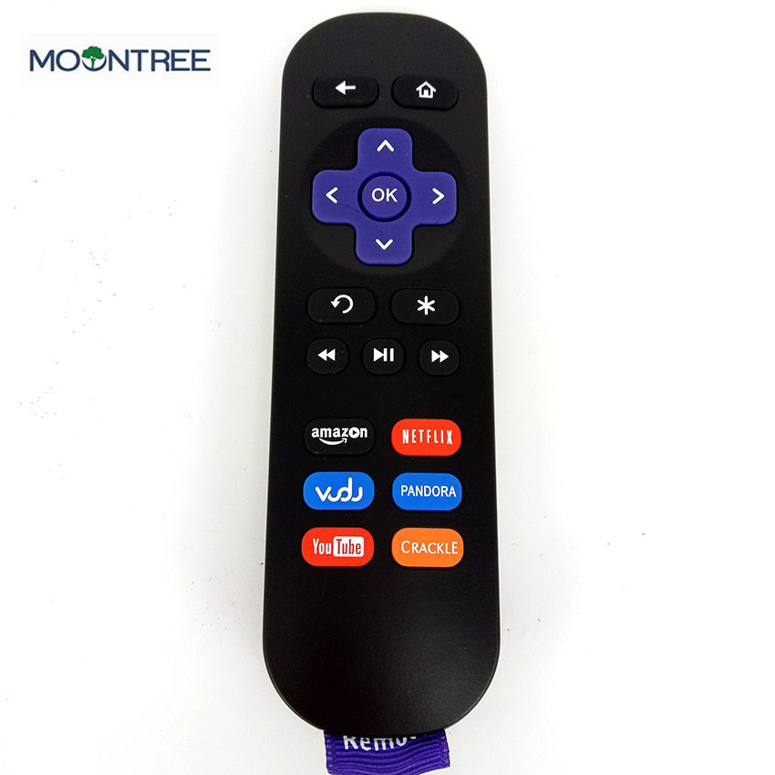 roku-1 black remote control for ROKU 3 ir 433mhz strap media player replacement Controle Remoto for roku 2 3 4 MOONTREE image