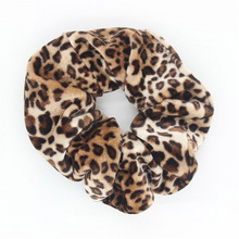 AWAYTR 2Pcs Soft Animal Leopard Velvet Hair Scrunchie Ponytail Loop Holder Stretchy Elastic Hair band for women Hair Accessories