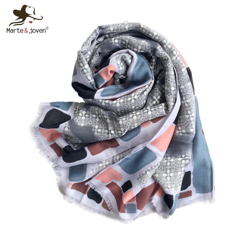 Women's Scarves Precise Marte&joven Bohemian Style Printing Women Pashmina Shawls Fashion Female Spring Autumn Warm Polyester Scarves Stoles Bufanda Moderate Cost