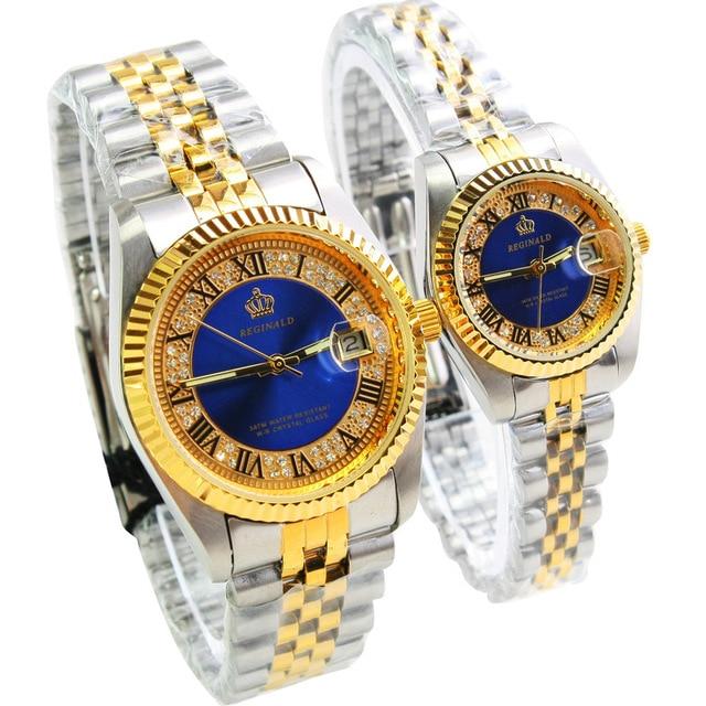 2018 REGINALD Brand Date Waterproof Crystals Men Watch Steel Wrist Watch Busines