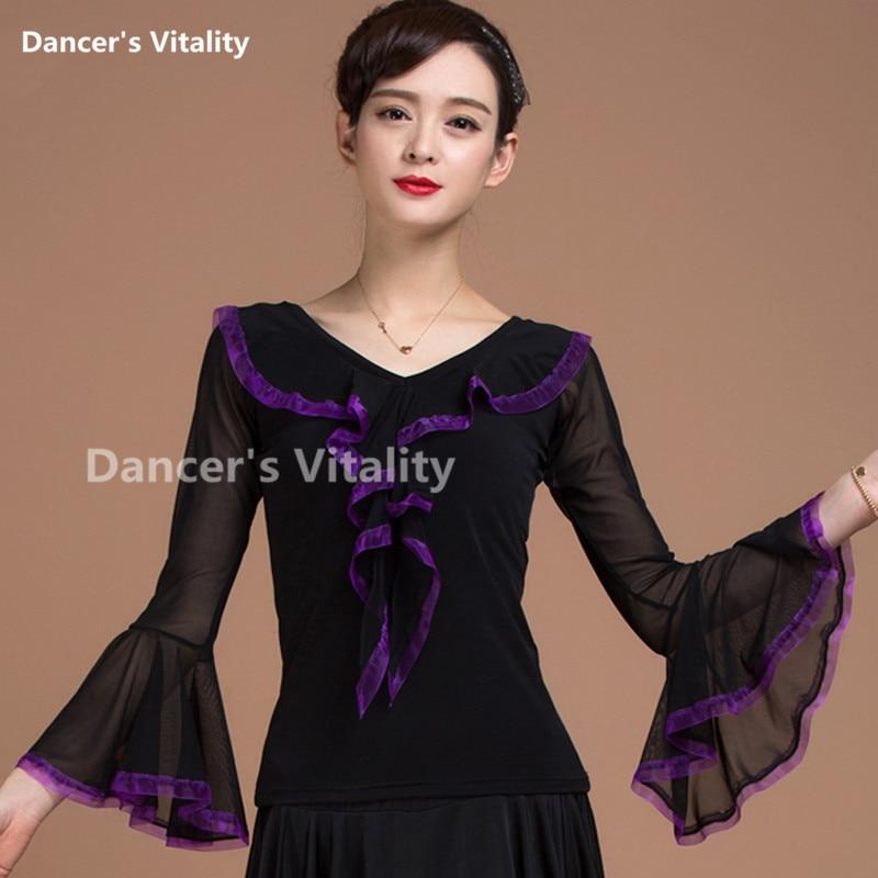 New Ballroom Sexy Modern Riffle Long Sleeve Latin Dancing Clothing Top For Women/female, Fashion Costume Performance Wears
