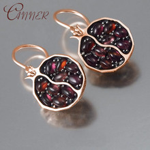 CANNER Boho Vintage Geometric Dangle Earrings for Women Round Garnet Stone Fashion Drop Earring Brincos Statement Jewelry Gifts
