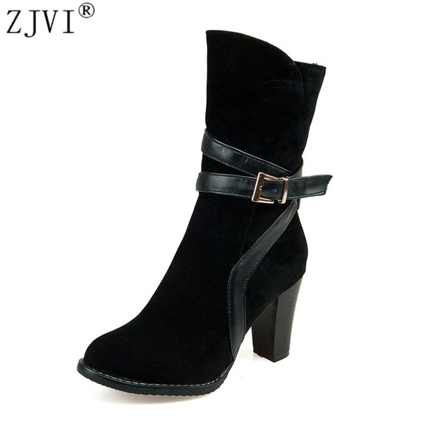 30f924f4c4ef27 ZJVI femmes nubuck talons hauts femmes mi-mollet bottes femme noir hiver  2019 femmes dames