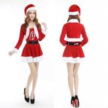 cff9b29ba Cosplay mujeres vestido de Navidad traje de Navidad para adultos rojo  terciopelo vestidos con capucha Sexy