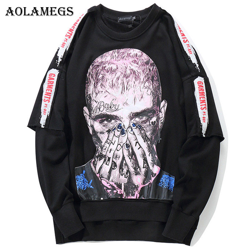 Aolamegs Male Sweatshirt Cool Printed Sweatshirts Pullover Streetwear High Street Hip Hop Fashion Autumn Streetwear Clothing