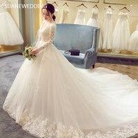 SIJANE реальное изображение корейской линии кружева платье принцессы Романтический халат де Mariage Vestido De Noiva Sheer спинки L рукава 0395