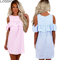 LOSSKY 2017 New Summer Dresses Women Fashion Sexy Off Shoulder Striped Vestido Curto Brief O-Neck Puff Sleeve Loose Mini Dress