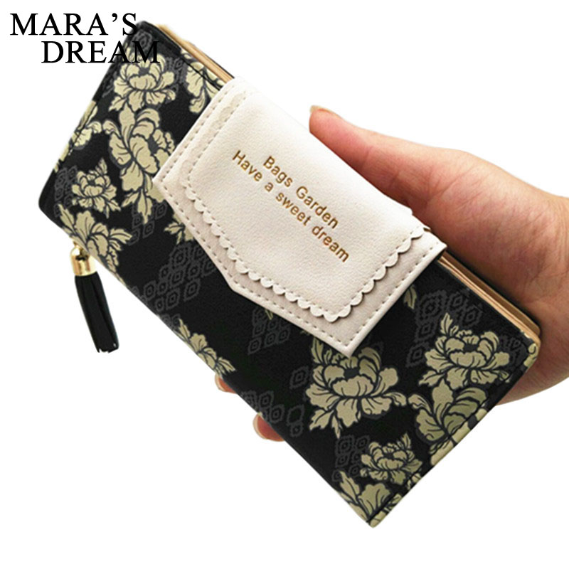 Mara's Dream Envelope Women Wallet Hit Color Trifold Flowers Printing 6 Colors PU Leather Wallet Long Ladies Clutch Coin Purse