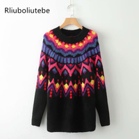 Multicolor Loose Long Sweater Women O Neck Long Sleeves Casual Knitted Pullover Oversize Sweater Dropped Shoulder European Style