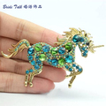Women Jewelry Animal Brooches VTG Style Green Unicorn Horse Brooch Pin Pendant Rhinestone Crystals Free Shipping 6172