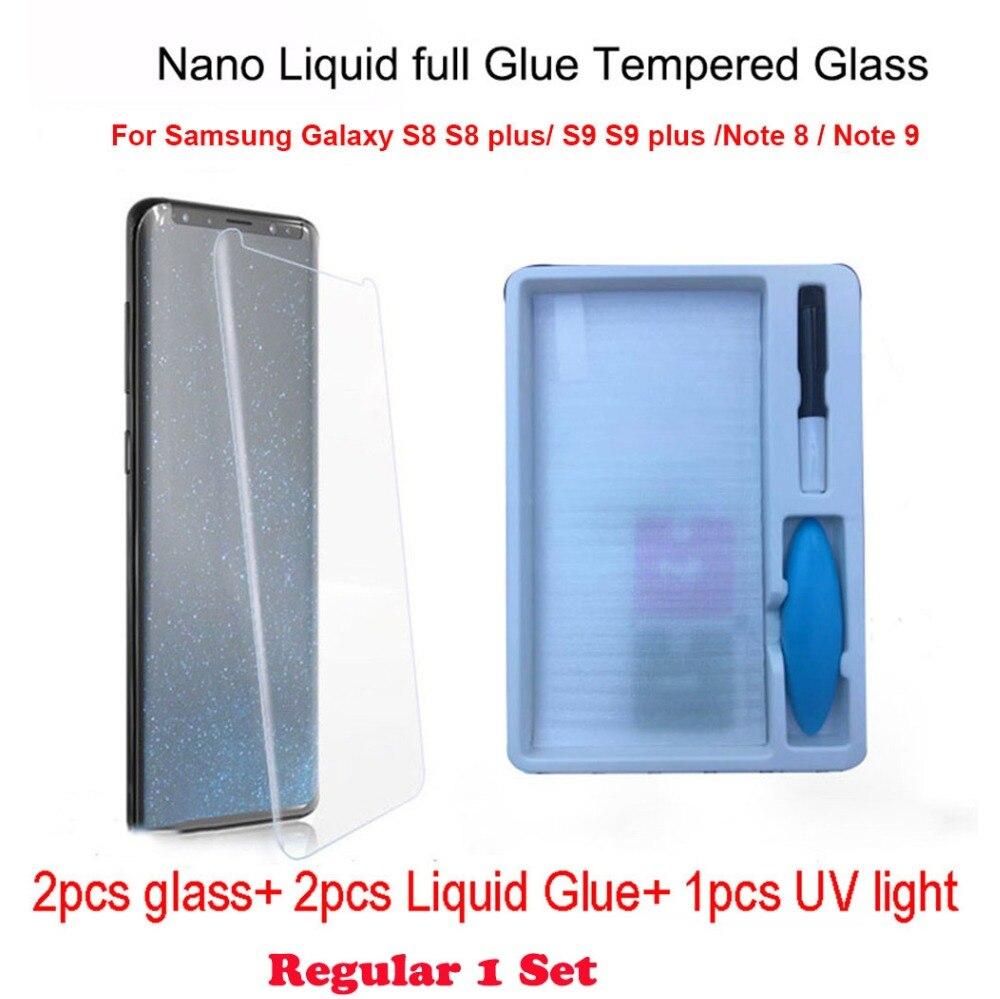 2 stücke Nano Flüssigkeit voll Kleber Gehärtetem Glas & 1 stücke UV Licht & 2 stücke Flüssigkeit Kleber Für Samsung galaxy Note 8 S8 S9 Hinweis 9 Screen Protector