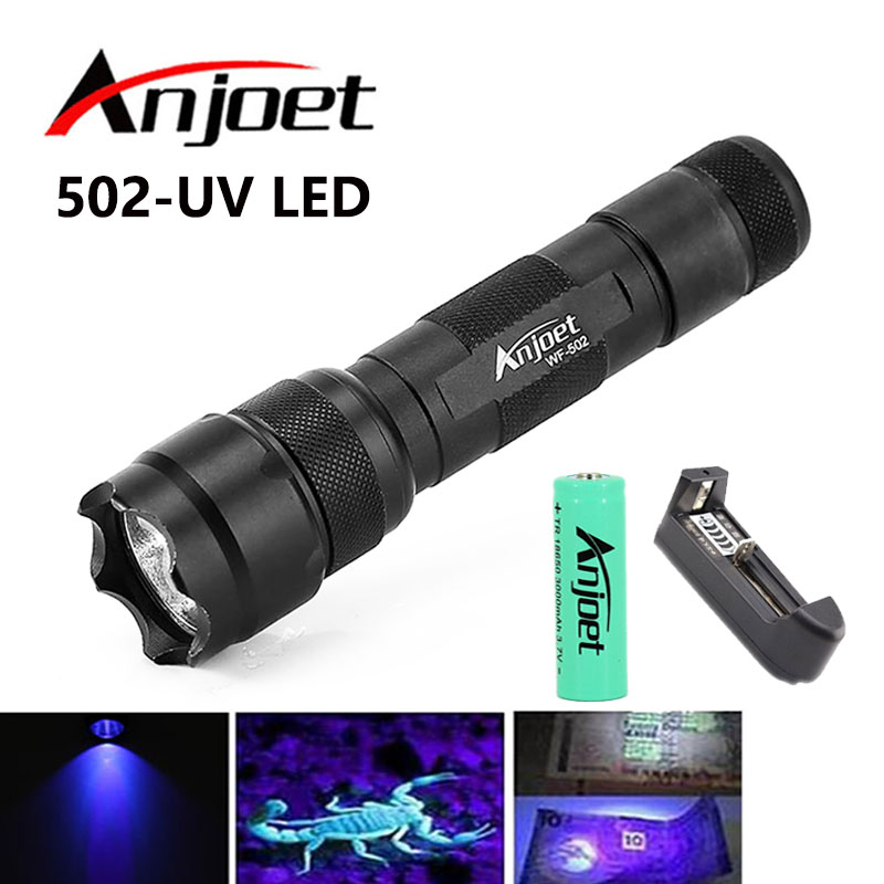 Anjoet Mini Portable 502B Flashlight UV-395nm LED Aluminum Violet Portable Purple Light Lamp Torch Light+18650+battery charger