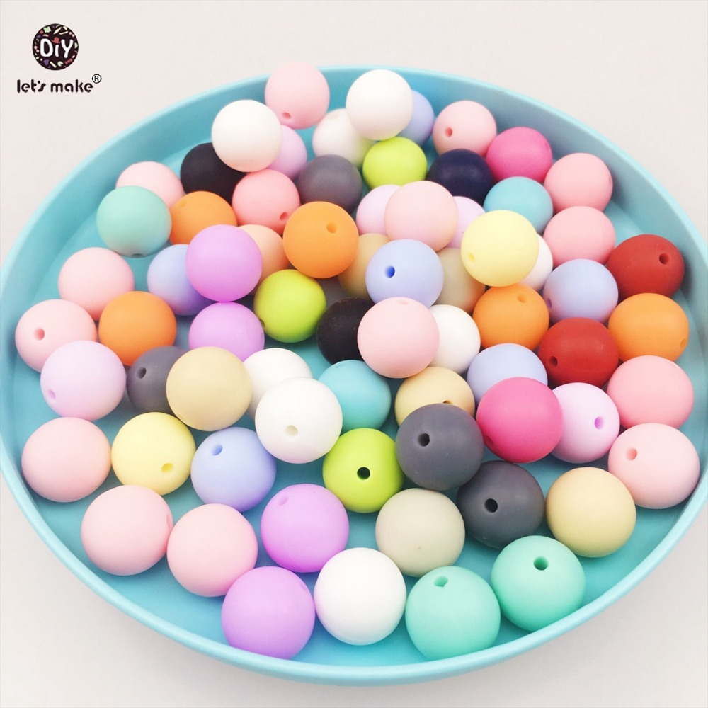Let's make 15mm silicone beads round loose jewelry baby teething balls(50pcs)Food Grade Sensory infant teether DIY necklace