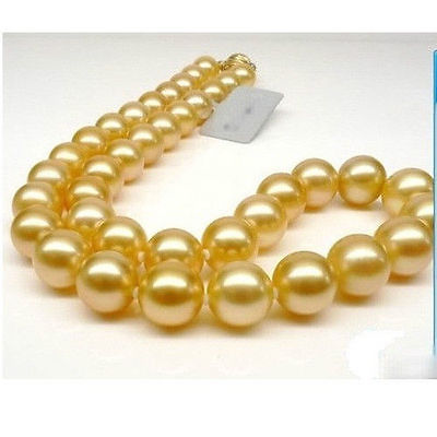 """정품 거대한 18 """"라운드 10 9mm aaa 남해 황금 진주 목걸이 14 k 골드 걸쇠-에서목걸이들부터 쥬얼리 및 액세서리 의  그룹 1"""