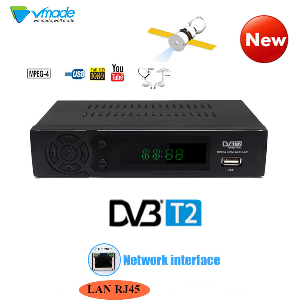 Vmade Full HD DVB T2 Digital Terrestrial receiver Support Youtube FTA 1080P RJ45 DVB-T2 TV BOX Tuner Receptor TV Set Top Box tbs6209 8 tuner dvb t2 c2 t c isdb t pcie card for live hd sd terrestrial cable fta tv channels