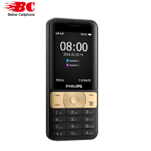 Original Philips E181 Phone MTK 2.4 inch 3100mAh battery 64MB RAM 128MB ROM FM Radio support memory card Dual SIM 2G GSM phone