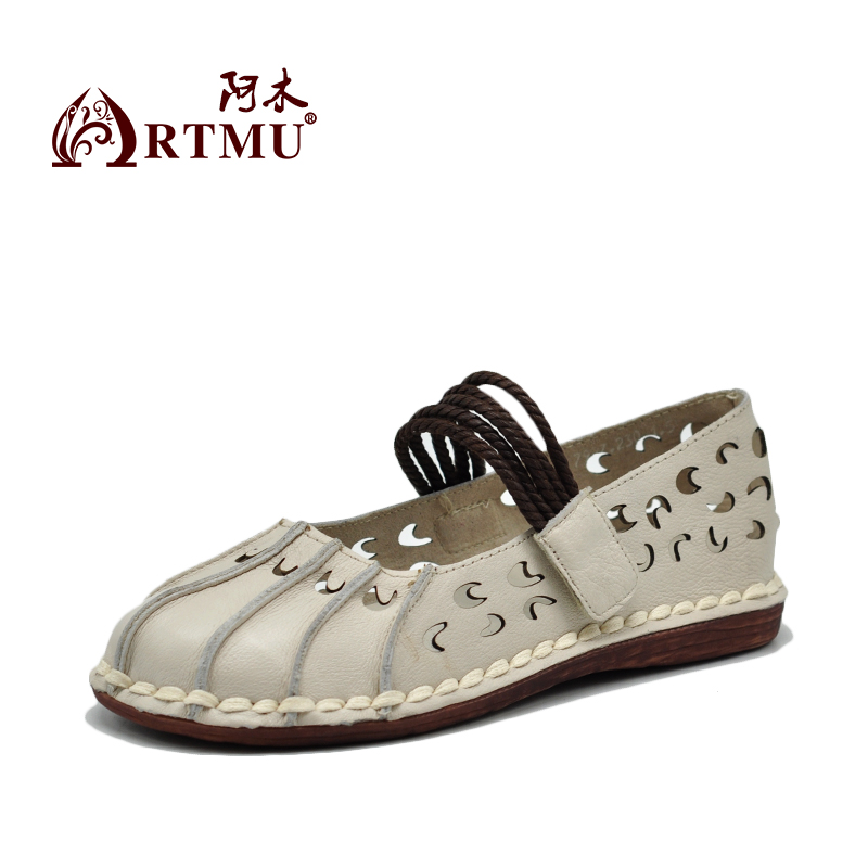 Artmu New Flat Shallow Mouth Leather Shoes Hollow-out Soft Handmade Women Shoes 7927 цены