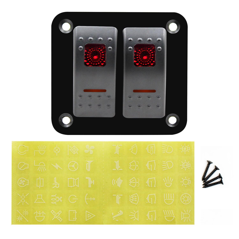 SHGO-12V-24V 2 gang vermelho rocker switch painel