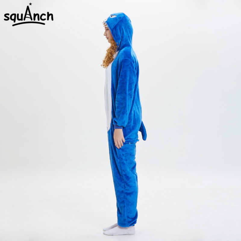 cdea87b5794c ... Blue Shark Kigurumi Funny Cartoon Onesie Animal Pajama Flannel Soft  Warm Women Men Adult Party Wear ...