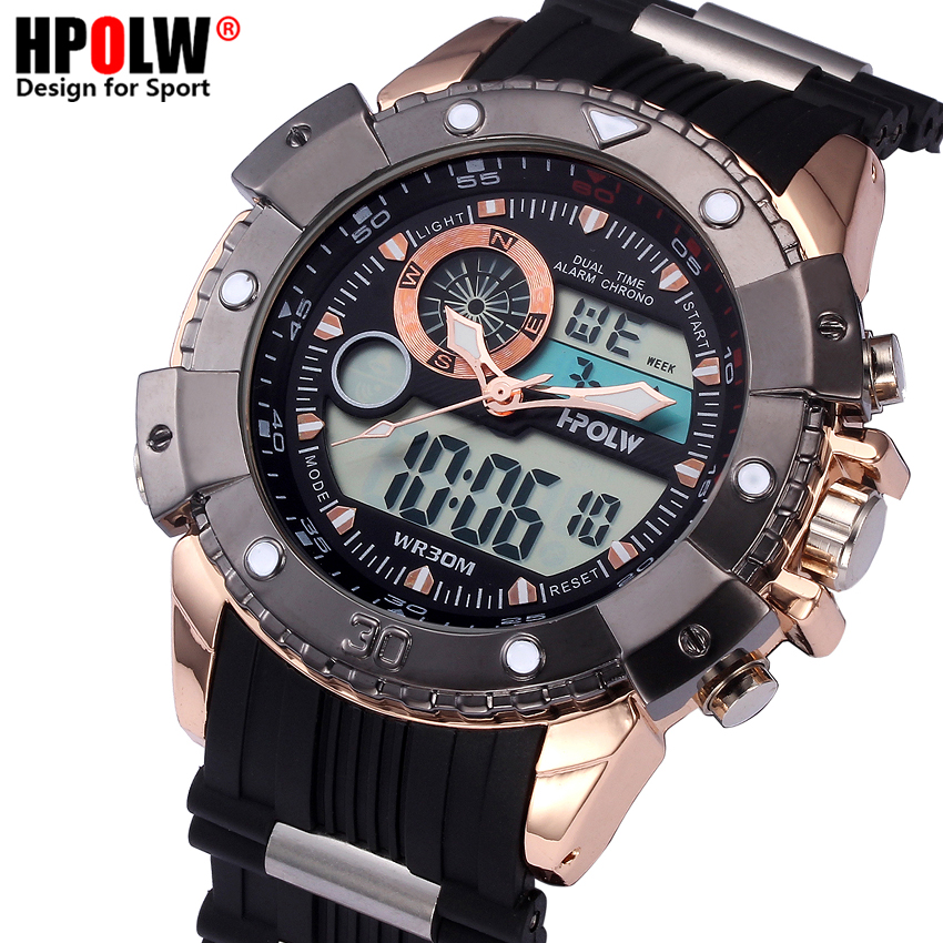 2018 New HPOLW Top Brand Luxury Men Sport Wrist Watch Mens LED Digital Watches Man Wristwatch Male Clock relogio masculino new military sport watch men top brand luxury waterproof electronic led digital wrist watch for men male clock relogio masculino