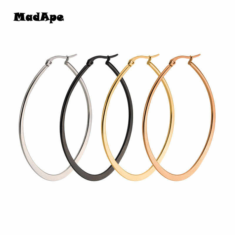 MadApe Hot Selling Big Oval Shape Woman Hoop Earrings Exaggerating Elegant Gold/Silver/Black/Rose Jewelry For Woman Men Gift