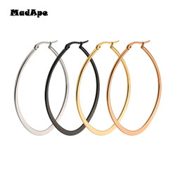 MadApe Sıcak Satış Büyük Oval Şekil Kadın Hoop Küpeler Abartılı Zarif Altın/Gümüş/Siyah/Gül Takı kadın Erkek Hediye