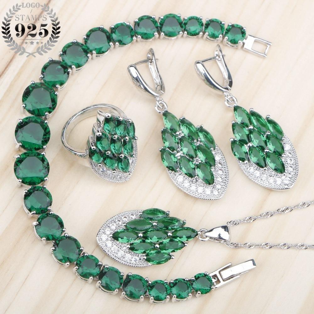 New Green Zirconia Women Silver 925 Costume Jewelry Sets Bridal Pendant Necklace Bracelets Earrings Rings Set Jewelery Gift Box