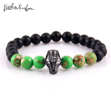 WML New Arrival Diy pharaoh Charm Bracelets For Men Black Mummies bead Cubic zirconia Jewelry Gift