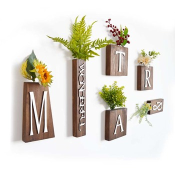 Solid Wood Pendant Artificial Plant Wall Decoration Wall Home Decoration  Accessories Letter Combination Decoration Customizable