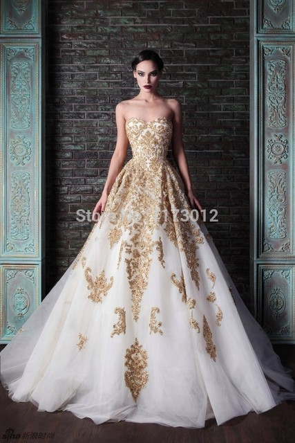 Beautiful Ball Gown White With Gold Embroidery Sweetheart Floor Length Free  Shipping Prom Dresses Gowns b82b8e633bf0