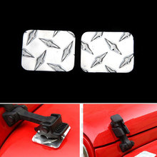 1Pair Aluminium Alloy Car Anti Scratch Engine Hook Cover Pad Mat Front Fender Flares Protector Sequin Cover For Wrangler JK