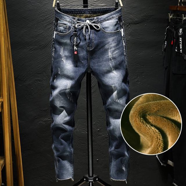 Высокое качество Для мужчин зимние Зауженные джинсы супертяжелом флис джинсы Новый мужской Drawstring эластичного денима теплые зимние джинсы размер 38