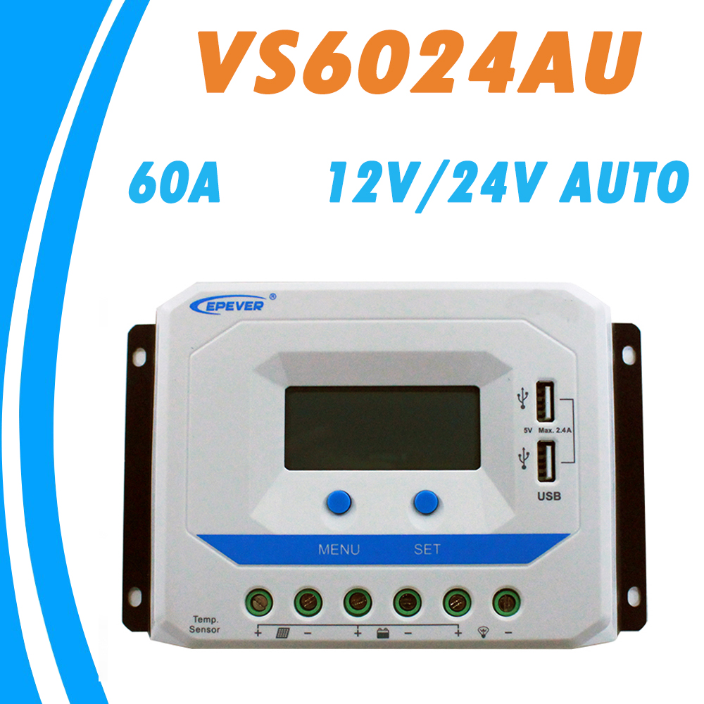 EPEVER 60A Solar Controller 12V 24V Auto VS6024AU PWM Charge Controller with Built in LCD Display and Double USB 5V Port EPsolar epever vs6024au 60a pwm solar charge controller 12v 24v dc auto with informative black light lcd display double 5v usb epsolar