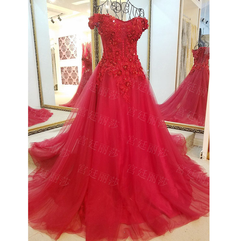 Buy Cheap Long Crystal Royal Red Evening Dress Beads Crystals Sequins Tulle Prom Dress Party Gown For Women vestido de festa Real Photo