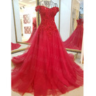 Save 19.9 on Long Crystal Royal Red Evening Dress Beads Crystals Sequins Tulle Prom Dress Party Gown For Women vestido de festa Real Photo