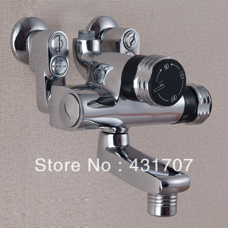 Exposed Shower Faucets Thermostatic Shower Faucet With Volume Control And Diverter, Shower Mixer Taps Chrome china sanitary ware chrome wall mount thermostatic water tap water saver thermostatic shower faucet