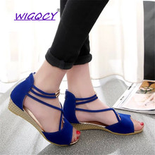 цены на Suede Peep Toe Wedges sandals women 2019 summer shoes women Fashion Comfortable Zipper Simple Low heel ladies shoes female  в интернет-магазинах
