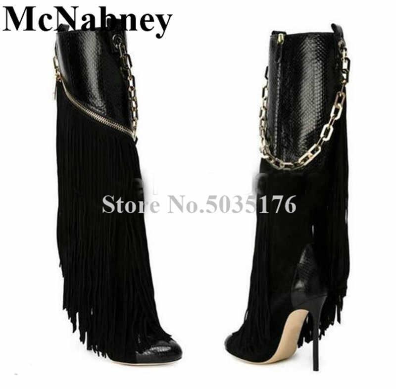 8b0bf19f16e 2019 European Women Fringe Metal Chain Round Toe High Stiletto Heels  Mid-Calf Western Boots Zip Black Long Boots Women Shoes