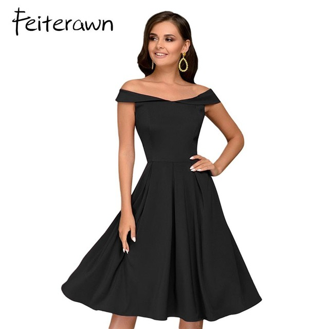 a7176aacc96a Feiterawn 2018 Women Slash Neck Midi Dress Summer Burgundy Black Sleeveless  Off The Shoulder Solid Color Party Dress Vestidos