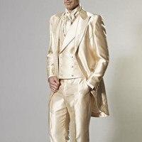 Three Pieces Hot Sale Custom Made Groom Tuxedos Gold Wedding Party Suit Dinner men Suit Groomsman Suits ( jacket+Pants+vest+tie)