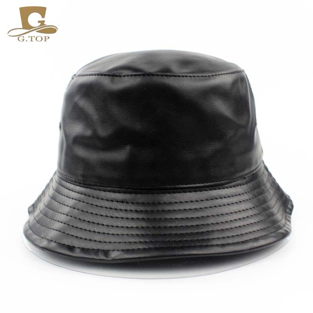 2016 New Solid Faux Leather Bucket Hat outdoor travel hat Women Casual Flat  bob Summer Hats Fishing sun Caps For Women Men G-260 4a23b847a6b