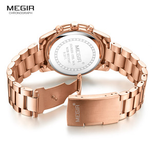 Image 5 - Megir 女性腕時計時計女性トップブランドの高級ローズゴールド腕時計レロジオ feminino часы женские 2057