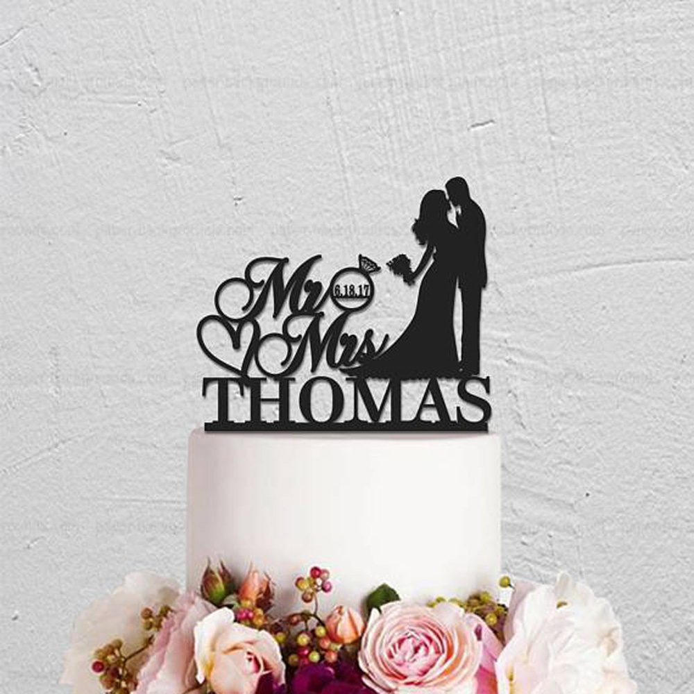 Mr And Mrs Wedding Cake Topper,Kissing Couple with Bride And Groom Cake Topper,Custom Acrylic wooden Personalized Cake Topper