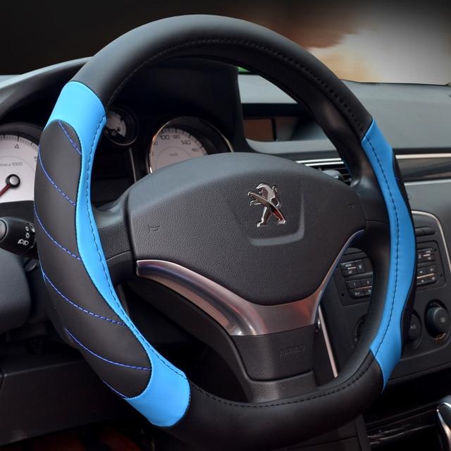Couverture de volant de voiture | Couverture de volant de voiture, couverture de volant de voiture, Fiber de cuir de meilleure qualité Style D diamètre 38cm direction de voiture antidérapante