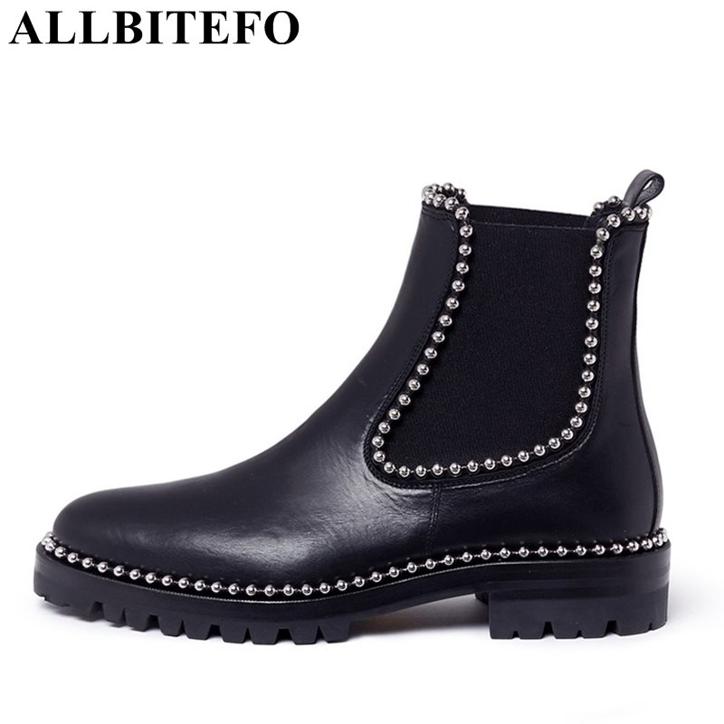 ALLBITEFO fashion brand genuine leather round toe women boots thick heel rivets