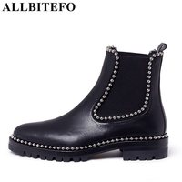 ALLBITEFO Fashion Brand Genuine Leather Round Toe Women Boots Thick Heel Rivets High Quality Martin Boots