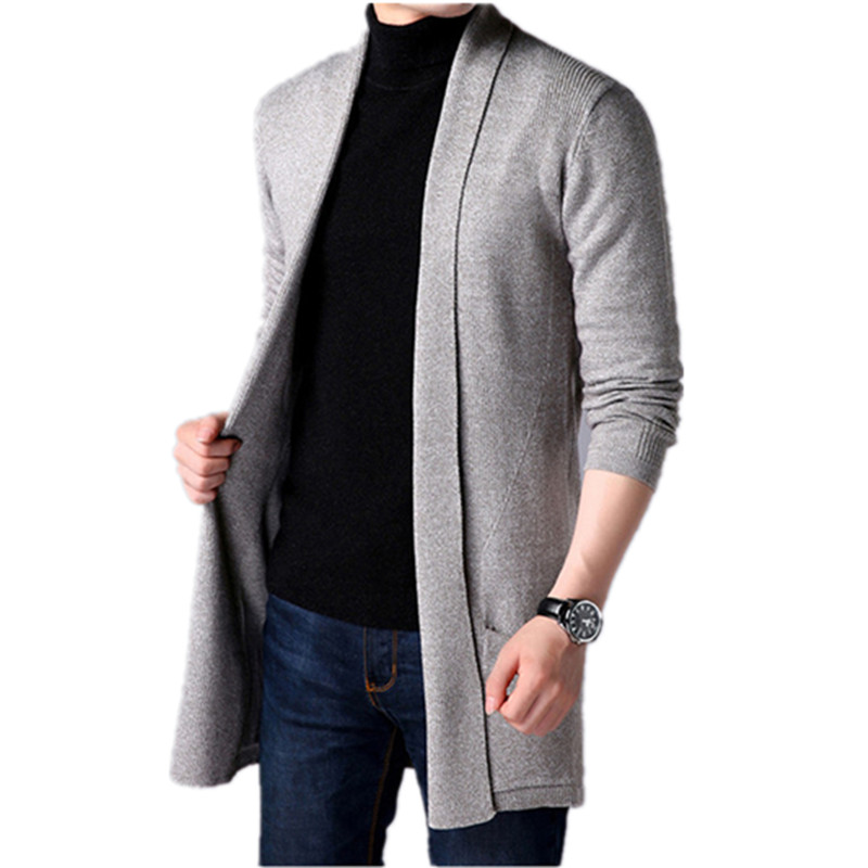 2019 Spring Fashion Men's Long Sweater Long Sleeve Knitting Sweaters Mens Casual Black Jacket Red Business Quality Coat BZ325