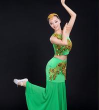 art Costume Dai dance sequined Peacock Dance Adult Yunnan fishtail skirt Dress